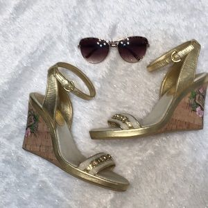 Coach sandals gold sz 8.5